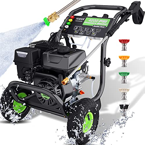 TEANDE 4200PSI 3.0GPM Gas Pressure Washer,209cc 7.0 HP Power Washer with Two 0.7L Soap Tanks,5 Quick-connect Nozzles and 20' Hose,For cleaning Cars,Driveway,Patio,Siding,Fence(Green)