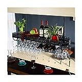 LWZ Estante para Colgar Copas de Vino con Barra de Metal, Soporte para Vino al revés, Colgador para Copas de Vino en el Techo para Cocina casera, Negro/Blanco