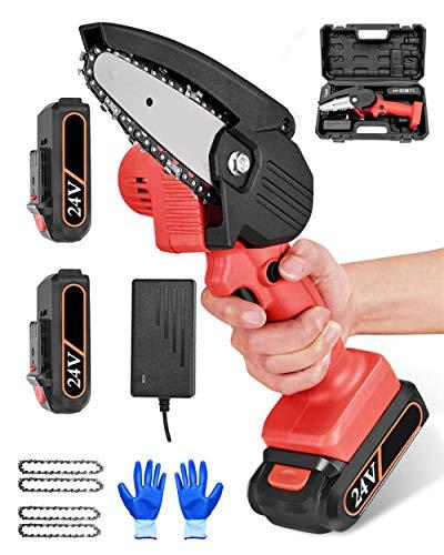 Mini sierra de cadena eléctrica recargable, sierra de podar eléctrica de 4 pulgadas, con batería, ligera, para cortar ramas de madera, color rojo