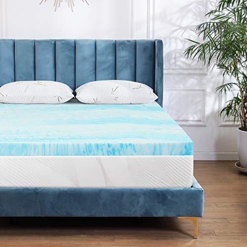 Milemont Mattress Topper King, 3-Inch Cool Swirl Gel Memory Foam Mattress Topper for King Size Bed, Blue