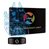 LE3D 3D Optical Illusion Desk Lamp/3D Optical Illusion Night Light, 7 Color LED 3D Lamp, Millennium Falcon 3D LED For Kids and Adults, Star Wars Light Up
