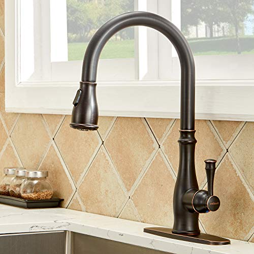 IKEBANA Best Antique Single Handle High Arc Pull Down Oil Rubbed Bronze Kitchen Faucet, One Or Three Hole Pull Out Sprayer Bronze Black Farmhouse Kitchen Sink Faucet with Deck Plate (1 or 3 hole)
