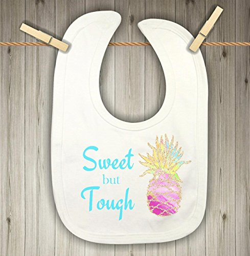 Baby Bib for Girls - Sweet but Tough Watercolor Pineapple