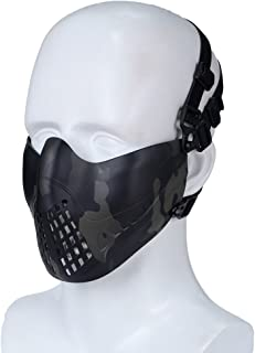 LVYLOV Airsoft Mask Military Tactical Lower Face Protective Mask Adjustable Comfortable Half Face Airsoft Mask for Outdoor Hunting Paintball Shooting