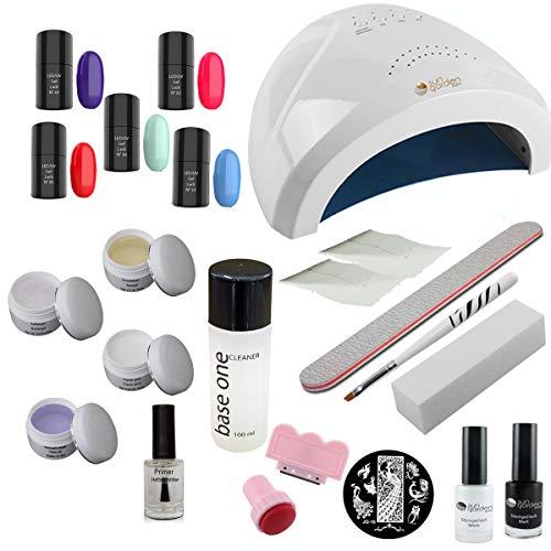 Set de gel débutant Miami, Kit de Gel UV avec Lampe UV 36WLED UV, Kit d'estampage, vernis à ongles de couleur - Kit débutant