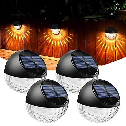 Quntis 4 Set Garten Solarlampen für Außen, Dekorative IP65 Wasserdichte Solarleuchten Balkon, Gartenbeleuchtung Solar, Außenwandleuchten Warmweiß, Solarbetriebene Deko Lampe Terrasse Hof Zaun Treppe