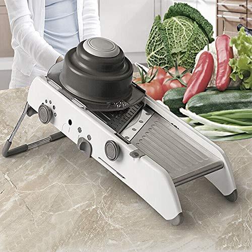 POPSPARK Mandolino da Cucina Multifunzione a Taglio vegetale Professionale Robusto - Mandolino Verdure Pieghevole in Acciaio Inox Regolabile Alta qualità e ABS