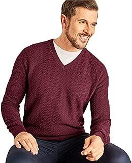 WoolOvers Mens Textured Stitch V Neck Jumper