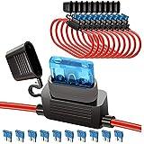 YGL 10 Piezas Impermeable ATC/ATO 15A Portafusibles para Automóviles Cable de 16 AWG Portafusibles con 10 Piezas 15A Fusible