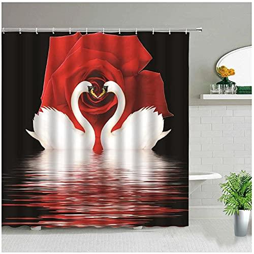 XXzhang Duschvorhang Blume Schwäne Rote Rose Set Romantische Valentinstag Dekor Badvorhänge wasserdichte Badezimmer Dekore Polyester Tuch