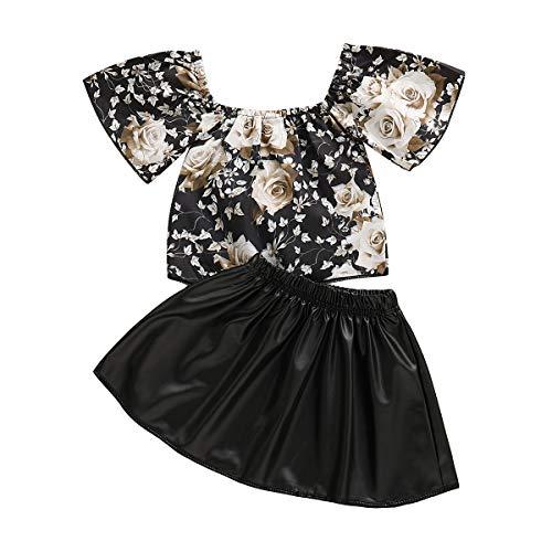 DaMohony Kids Baby Meisje Rok Outfits Bloemen Top + Lederen Rok Kids Peuter Meisje Mode Pak Kleding