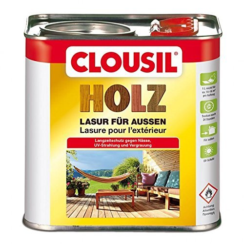 CLOUsil Holzlasur Holzschutzlasur für außen palisander Nr 6, 2.5L: Wetterschutz, UV-Schutz, Nässeschutz und Schimmel für alle Holzarten - in verschiedenen Farben