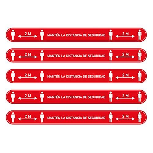 Confezione da 5 adesivi antiscivolo per pavimento, con certificazione R9, strisce adesive di distanza di sicurezza, 2 m, in vinile, misure di protezione (rosso)