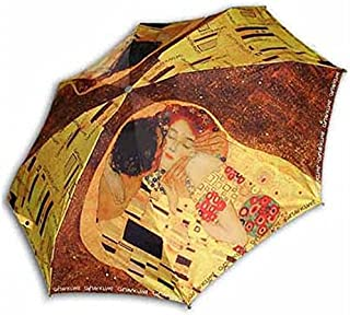 Goldenpiece Klimt Kiss Masterpiece Printing 3steps auto Folding umbrellaBEWARE of Knockoffs auto Open Close one Button for Handed Operation -Portable Easy Carrying Precious deep Black Package
