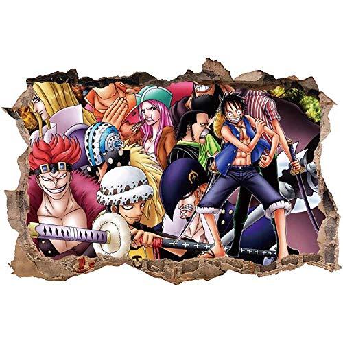 Pegatinas de Pared 3D Estéreo Estudiante Anime Etiqueta de la Pared Dormitorio One Piece Papel Pintado Autoadhesivo Papel Pintado Dormitorio Pegatinas de Pared 90 * 60 cm-E_60*90CM