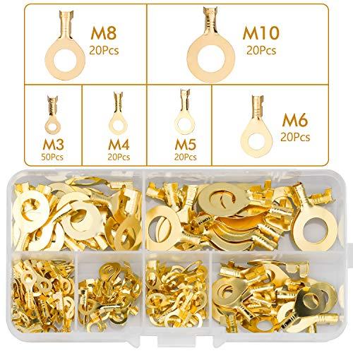 150 Stück Ring Kabelschuh M3 M4 M5 M6 M8 M10 Kabelschuhe Sortiment Set Isolierte Steckverbinder Messing Kabelstecker Ring-Terminals Kabelschuhe Flachstecker mit Transparent Kunststoffbox