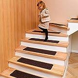 DanceWhale 15er Set Stufenmatten (76.2 x 20.3 cm) Treppenmatten Treppen rutschfest Selbstklebende Treppenteppich, Sicherheit Stufenteppich für Kinder, Älteste und Haustiere, Kaffee - 3