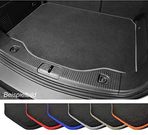 Premium Kofferraummatte für VW Polo 5 Typ 6R Velours Anthrazit Umrandung Grau Kofferraumschutz