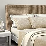 Funda para cabecero de cama de matrimonio, color pardo, funda para cabecero shienal, elástica, universal, tejido bielástico extensible hasta 200 cm