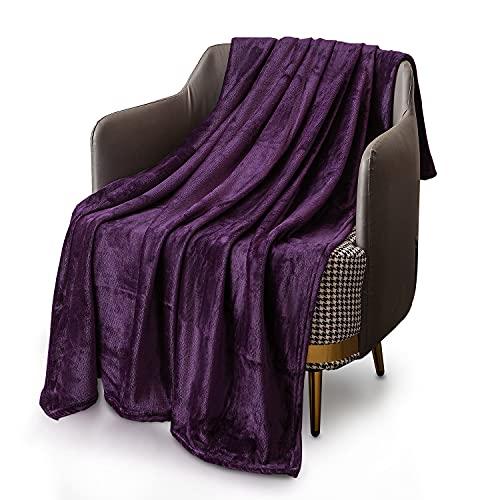 KEPLIN Flanell-Decke, Überwurf, große Tagesdecke (130 x 150 cm) – weich, flauschig, warm, Mikrofaser-Stoff-Design, Bettbezug, Teppich (lila, Einzelbett)
