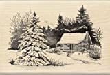 Inkadinkado Snowy Winter Cabin Wooden Christmas Stamp, 2.75'' W x 4'' L