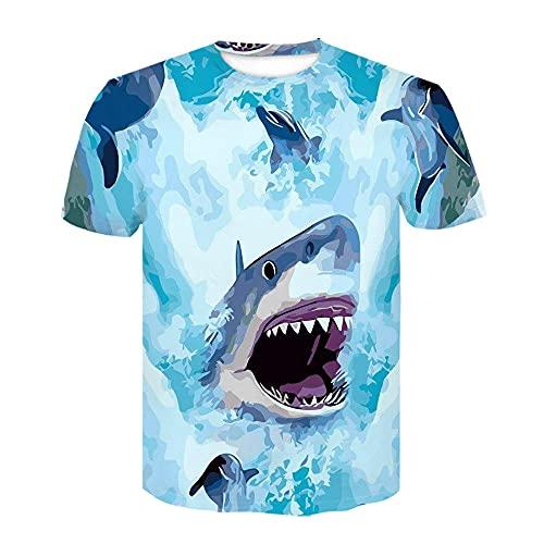 ASHGNV Deep Sea Shark Camiseta para Hombre con Estampado en 3D, Camisetas Informales de Verano de Secado rápido, Novedad, Camiseta de Manga Corta-XL