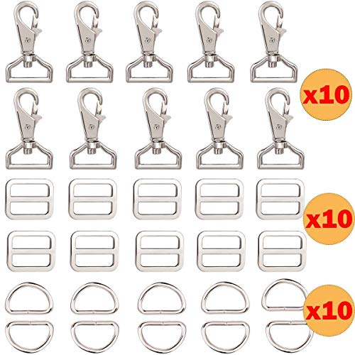 BOMKEE 30 Stks metalen sleutelhanger Bulk met Slide gesp 1 inch Snap gesp haken D Ring Lanyard naaien DIY ambachtelijke sleutelring gesp voor bevestigingsmiddelen, riem, rugzak, handtas, riemen, portemonnee hardware accessoires
