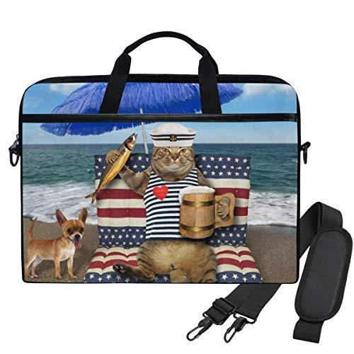 Taza de Gato Beer ed Fish Blue Umbrella Tropical Beach Unisex Laptop Sleeve Messenger Bag para computadora de 15.6 Pulgadas