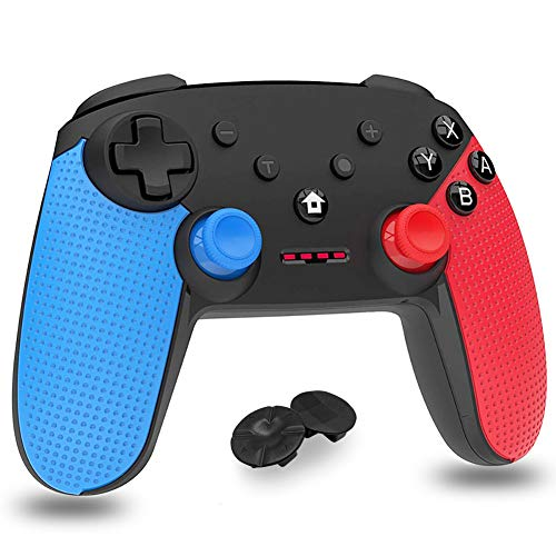 Mando para Nintendo Switch,  Bluetooth inalámbrico Controller Switch Pro Support Gyro Axis,  Turbo y Dual Vibration Switch Joystick con Cable de Carga Tipo C para Nintendo & PC Azul y Rojo (Negro)