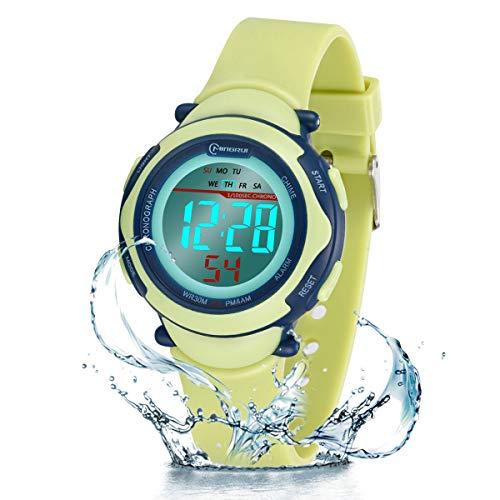 Kinder Digitaluhr, Funktionelle wasserdichte Jungenuhr Mädchen mit Zeit, Datum, Woche, Hintergrundbeleuchtung, Warnung, Stoppuhr Digital Uhr für Kinder (Grün 8568)
