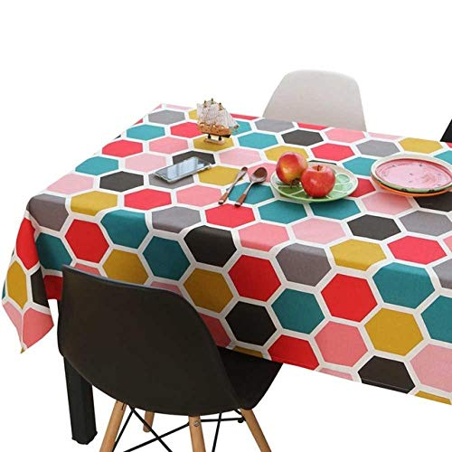 Zzyx Tovaglia Rettangolare Decorativa Lino in Cotone Tovaglie per Bambini Pranzo Mantello Nappe tè Tavolino Copertura-Vespaio_120x120cm
