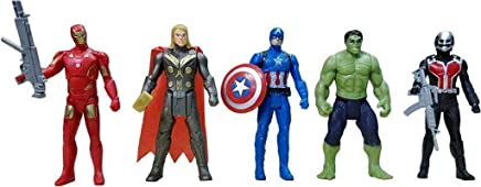 Avengers Toys Set - Captain America, Ironman, Hulk, Ant Man and Thor - Infinity War 5 Action Hero Collection with LED Function (Multicolour) [ Avengers Height : 6 inches ]