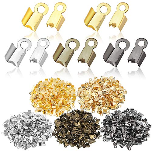 1000 Pieces Fold Over Cord Ends Cord Crimp End Tips Fold-Over End Caps Leather Ribbon Ending Clasp Tips Jewelry Connector for Jewelry Making, 3.5 x 9 mm/ 0.14 x 0.35 Inch, 5 Colors