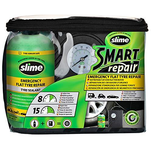 Slime CRK0305-IN Reparación de Pinchazos, Reparación Inteligente, Kit de Emergencia para Neumáticos, Incluye Sellante y Bomba, Apto para Coches y Otros Vehículos de Carretera, Reparación en 15min