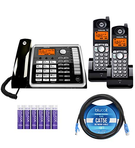 Motorola ML25260 Expandable Corded 2-Line Business Phone with Full Duplex Speakerphone Bundle with 2-Pack of ML25055 2-Line DECT 6.0 Cordless Handsets, Blucoil 10  Cat5e Cable, and 6 AAA Batteries