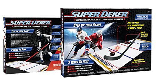 "SuperDeker Advanced Ice Hockey Training System | Real Ice Feel Electronic Sensor Stickhandling Game -3 Training Modes plus Two Player | 67"" x 28.5"" Ice Hockey Training Pad All Parts Included"