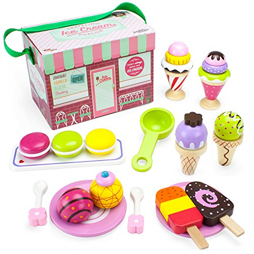 Imagination Generation Wood Eats! Wooden Play Food Traveling Ice Cream Parlor Playset with Popsicles, Ice Cream Sandwiches, and Sundaes