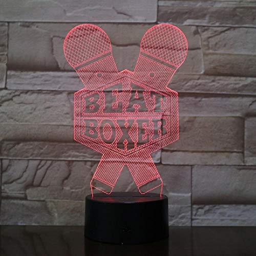 3D-lamp optische bedrieglijk nachtlicht boxen beat bokser microfoon 16 miljoen kleurverandering touch switch USB power voor bed kamer bar, kleurbesturing via mobiele Bluetooth