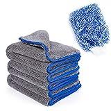 KEJA Mikrofaser Auto Reinigungstücher Universal Poliertuch samtweich mit 1200 GSM 3 Stück 42x48 cm Plus Auto Waschhandschuh Premiumqualität lackschonend und fusselfrei