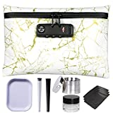 Aisto Smell Proof Bag Kit with Lock - White & Gold Pattern Waterproof Herb Container Odor Proof Bundle 6 Accessories - Herb Grinder Doob Tube Rolling Tray Oil Jar Mylar Bags