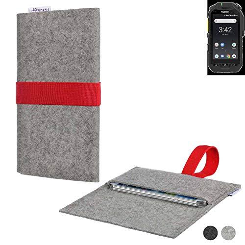 flat.design Handy Hülle Aveiro für Ruggear RG725 maßgeschneiderte Handytasche Filz Tasche Sleeve Pouch Grau rot
