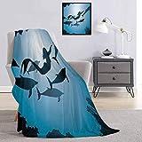 Toopeek - Manta de franela para cama subacuática, diseño de sirena y delfines, color azul