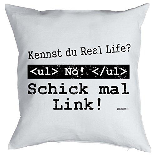 Cooles Sprüche Cojín–Regalo para ordenador frikis: Schick/conoces Real Life?–de Goodman Diseño ®–de cojín con relleno Color: Blanco