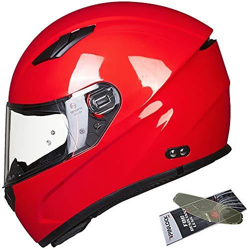 ILM Motocross Full Face Motorcycle Helmet Pinlock Insert Anti-fog Visor Snowmobile ATV Casco for Men Women DOT (Red, 4XL)