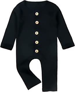 Newborn Infant Baby Boys Girls Solid Color Bodysuit Jumpsuits with Button Long Sleeve Thread Cotton Rompers