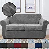 RHF Velvet Couch Cover 3 Piece Couch Covers for 2 Cushion Couch Sofa Covers for 2 Cushion Couch Loveseat Cover Couch Covers for Loveseat with 2 Separate Cushion Cover(Loveseat,Gray)