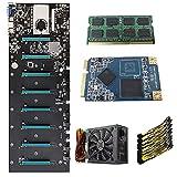 RTYU Fit for para un Conjunto BTC-S37 Mining Miner Rig Placa Base 8 Ranuras para Tarjetas gráficas + 1800W PSU + 4G / 8G DDR3 + 8Pin Cable de alimentación + 128G Msata SSD(Color:110-220V 4G)
