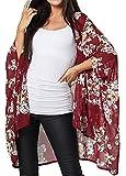 Zeta Ville Mujer Kimono de Gasa de Verano de Gran tamaño 1300 (Carmesí Met Flores, 36,)