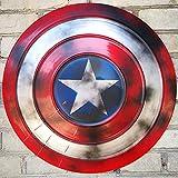 KDDEON Captain America Shield Full Metal, 47CM Adult Legends Series Replica Marvel Props, Accesorios para Disfraces de Halloween Cosplay Props Bar Shield Decoraciones para Colgar en la Pared C
