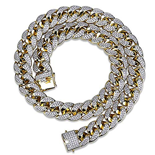 TOPGRILLZ 18mm 18K Gold Plated Iced Out CZ Lab Diamond Miami Mens Choker Cuban Link Chain for Women Necklace Hip Hop(18mm Gold,22)